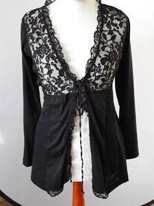 Damenmode Cardigan mit Spitzeneinsatz Oberteil Jacke Blazer Damenbekleidung