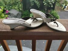 Franco Sarto White /Brown Heel Sandals, Size 6,5