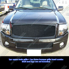 Fits 2007-2014 Ford Expedition Black Stainless Steel Mesh Grille Grill Combo