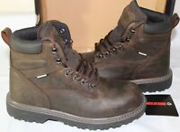 WOLVERINE FLOORHAND STEEL TOE WP MEN'S WORK BOOT, SIZE 9.5, DARK BROWN, W10696