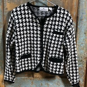 Women's Houndstooth Cardigan Sweater Medium Maggie Lawrence