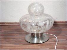 alte Boden Tisch Leuchte aus Italien, Alu & Glas mit Einschmelzungen, 60er Jahre