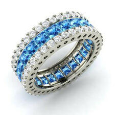 5.56 Ct Genuine Real Diamond Topaz Band 14K Solid White Gold Ring Size L M N O