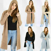 Ladies Hooded Cable Knitted Open Front Side Slit Pocket Mide Long Cardigan 8-26