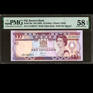 Reserve Bank of Fiji 10 Dollars ND (1989) PMG 58 Choice About UNCIRCULATED P-92a