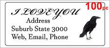 100 Personalised return address label custom adhesive sticker 56x25mm crow