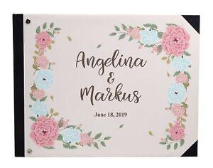 Darling Souvenir Pink Floral Wedding Guest Book Hardbound Guest-uwT