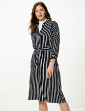 MARKS & SPENCER COLLECTION TIE-ON STRIPES MIDI DRESS