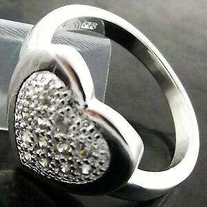 Ring Genuine Real 925 Sterling Silver Filled Diamond Simulated Heart Design Us 7
