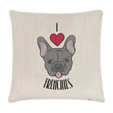 I Love Frenchies Linen Cushion Cover - Pillow Funny French Bulldog Dog