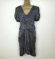 Whistles Dress UK Size 12 Navy Red Spotted Shift Dress Womens 100% Silk