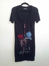 Individual Style! Desigual size S embellished black dress in excellent condition