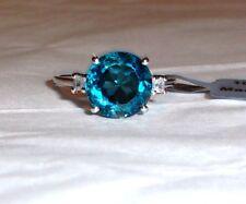 10K White Gold London Blue Topaz Round & White Zircon Rnd Ring, Size 8, 4.73(TCW