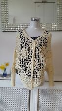 Stunning Cream Crocheted Summer Over Up Cardigan Size  8 10 12