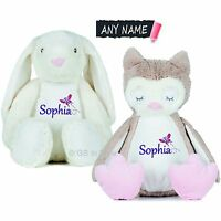 PERSONALISED PLUSH TOY ANY NAME EMBROIDERED GIRLS GIFT OWL BUNNY PRESENT EASTER