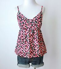 CANDIE'S Floral Cut Out Empire Waist Babydoll Chiffon Tank Top Shirt Blouse S M