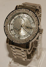 King master men watch silver finished metal band  with 12 diamonds fashion