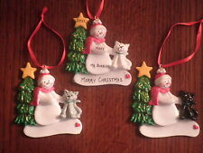 Personalized Snowman with Cat Christmas Ornament