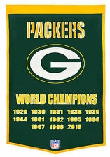 "Green Bay Packers 24"" x 36"" Genuine Wool Super Bowl Dynasty Banner NWT"
