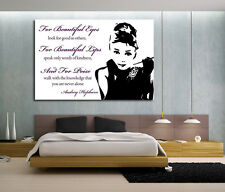 CANVAS PRINT PICTURE READY TO HANG AUDREY HEPBURN QUOTE BEAUTIFUL EYES PINK