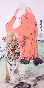 100% ORIENTAL  ASIAN FINE ART CHINESE WATERCOLOR PAINTING-Dharma&Tiger king