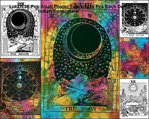 Small Tapestry Poster Wholesale Lot Of 36 Pcs Cotton Indian Pantagram Moon Sun
