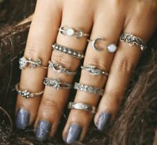 11 PCS Knuckle Ring Set Silver Tone Different sizes Moon Crescent Hand R392