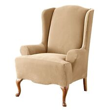 Sure Fit Stretch Pique Knit - Wing Chair Slipcover - Cream (SF38685)