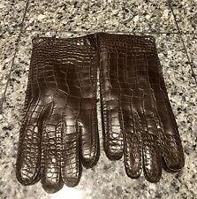 Lambertson Truex Brown Crocodile Men's Gloves