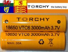 2x 30A Torchy (Sony VTC6) 3000mAh Flat Top 18650 3.7v Li-ion batteries + case