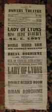 *EARLY AMERICAN THEATRE: BOWERY THEATRE RARE  LARGE 1858 BROADSIDE*
