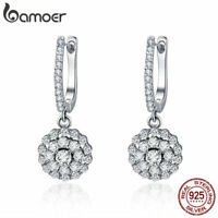 BAMOER Solid S925 Sterling silver Earrings The flower of light With CZ For Women