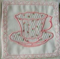 Applique Teacups, pink rose buds, embroidered fabric quilt block squares