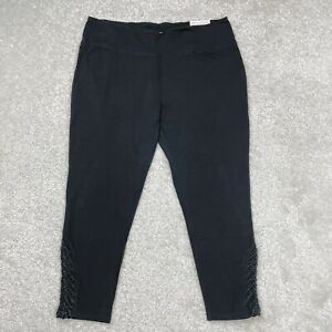 Size 3X Soft Surroundings Black Crochet Hem Stretch Cotton Leggings NWT Plus