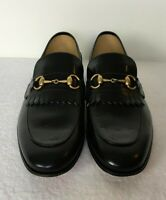 Gucci Men Leather Loafers Black Color Gold Metal Horsebit Sz 9.5 Business  gi64