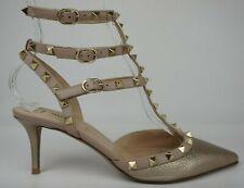 Valentino Rockstud Metallic Gold Leather Pointy Toe Pump Heel Size 38.5
