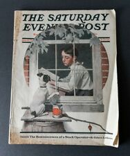 1922 June 10 Saturday Evening Post Norman Rockwell cover FULL issue, dog outside