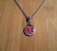Medical Alert Charm Chain Silver Necklace 20 Inch**~Free Ship