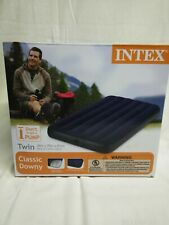 New INTEX Twin Size Blue Inflatable Mattress Airbed Indoor Outdoor Home Travel