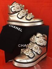 16P NIB CHANEL GOLD LEATHER CAMELLIA FLOWERS PEARLS CC LOGO HI TOP SNEAKERS 37.5