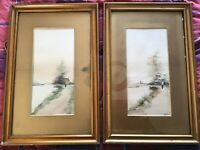 Vintage pair of old Dutch gilt framed sign watercolour paintings maritime boats