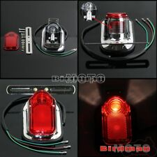Chrome Motorcycle Aftermarket Tombstone LED Taillight For Harley Chopper Bobber