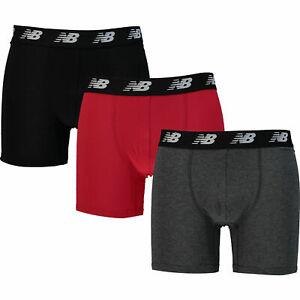 """New Balance Men's 3-Pack Cotton Performance Boxers, Red/Grey/Black, S (28""""-30"""")"""