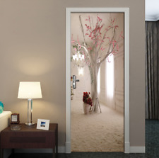3D Space Floral Tree Self-Adhesive Door Wrap Murals Stickers Bedroom Wall Decor