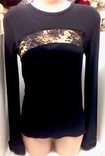 Givenchy Top Black With Lace Stretchy Rouched Cuffs Size Small