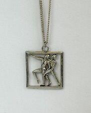 Vtg Margo De Taxco Mexico Sterling Silver Dancers Astrological Gemini Necklace