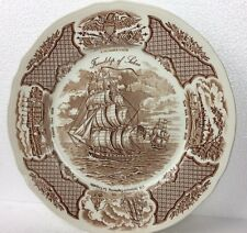 VINTAGE  ALFRED MEAKIN FAIR WINDS FRIENDSHIP OF SALEM DINNER PLATE BROWN