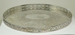 Vintage Silver Plated on Copper Oval Gallery Tray