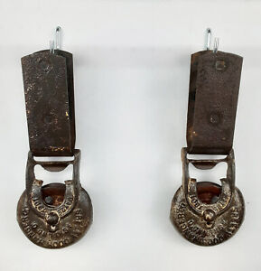 Antique 1901 Myers Ashland, O Barn Door Hangers and Rollers (pair) #003
