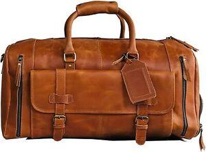 "28"" Large leather Travel Bag Duffel bag Gym sports Holdall Luggage Duffel Men"